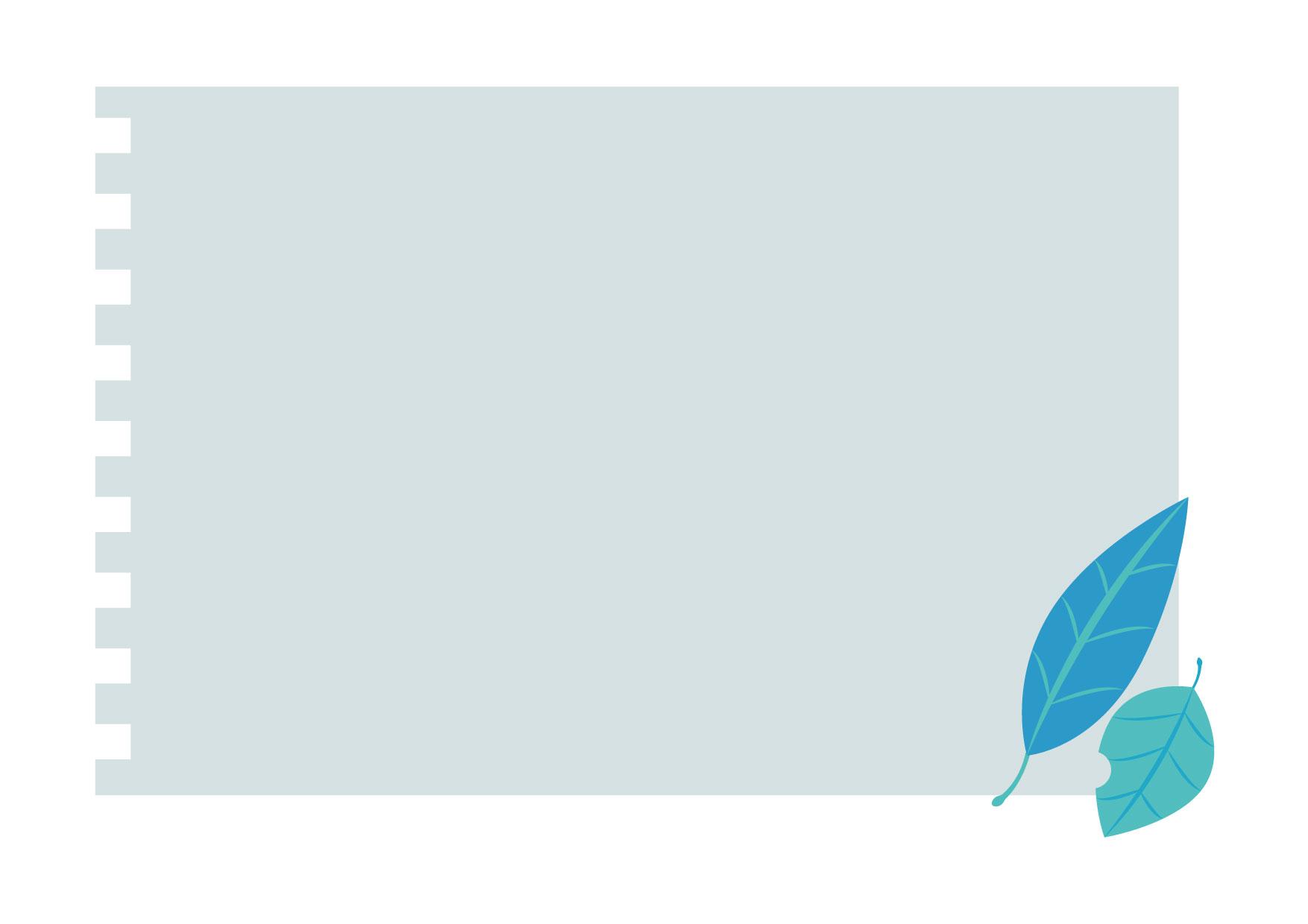 可愛いイラスト無料|フレーム ノート 葉っぱ ブルー 背景 − free illustration Frame notebook leaf blue background