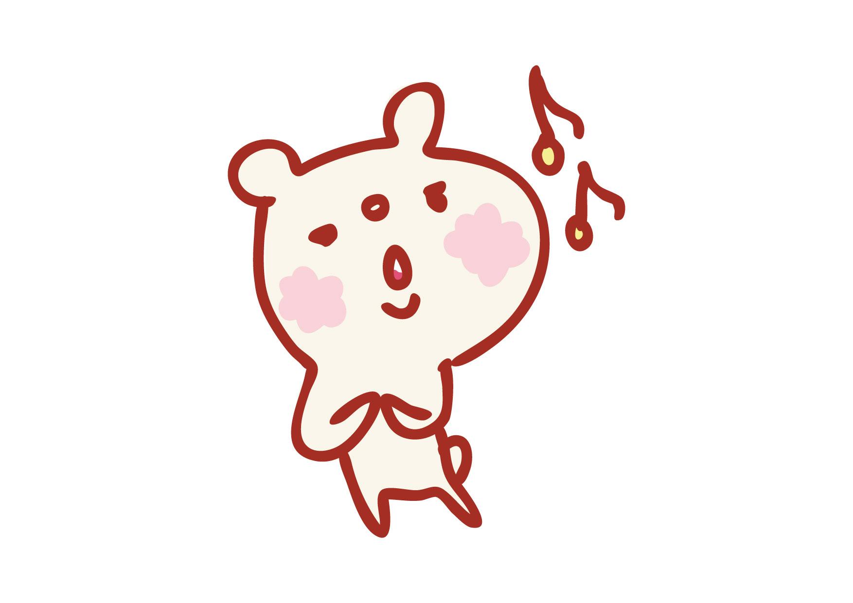 可愛いイラスト無料|くまさん 口笛 − free illustration Bear whistle