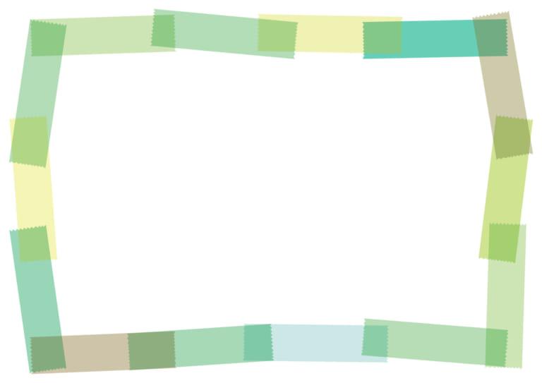 マスキングテープ フレーム 緑 イラスト 無料
