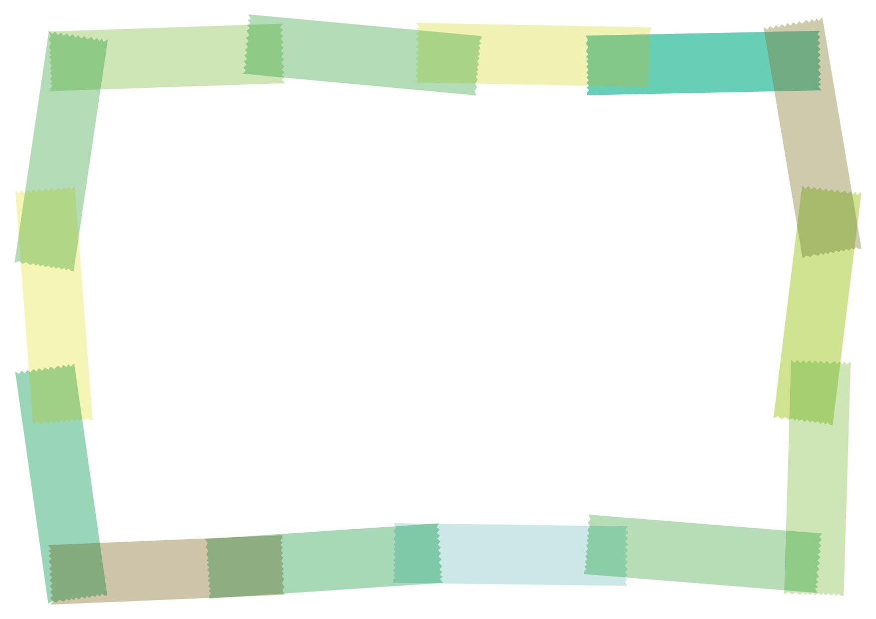 可愛いイラスト無料|マスキングテープ フレーム 緑 − free illustration Masking tape frame green