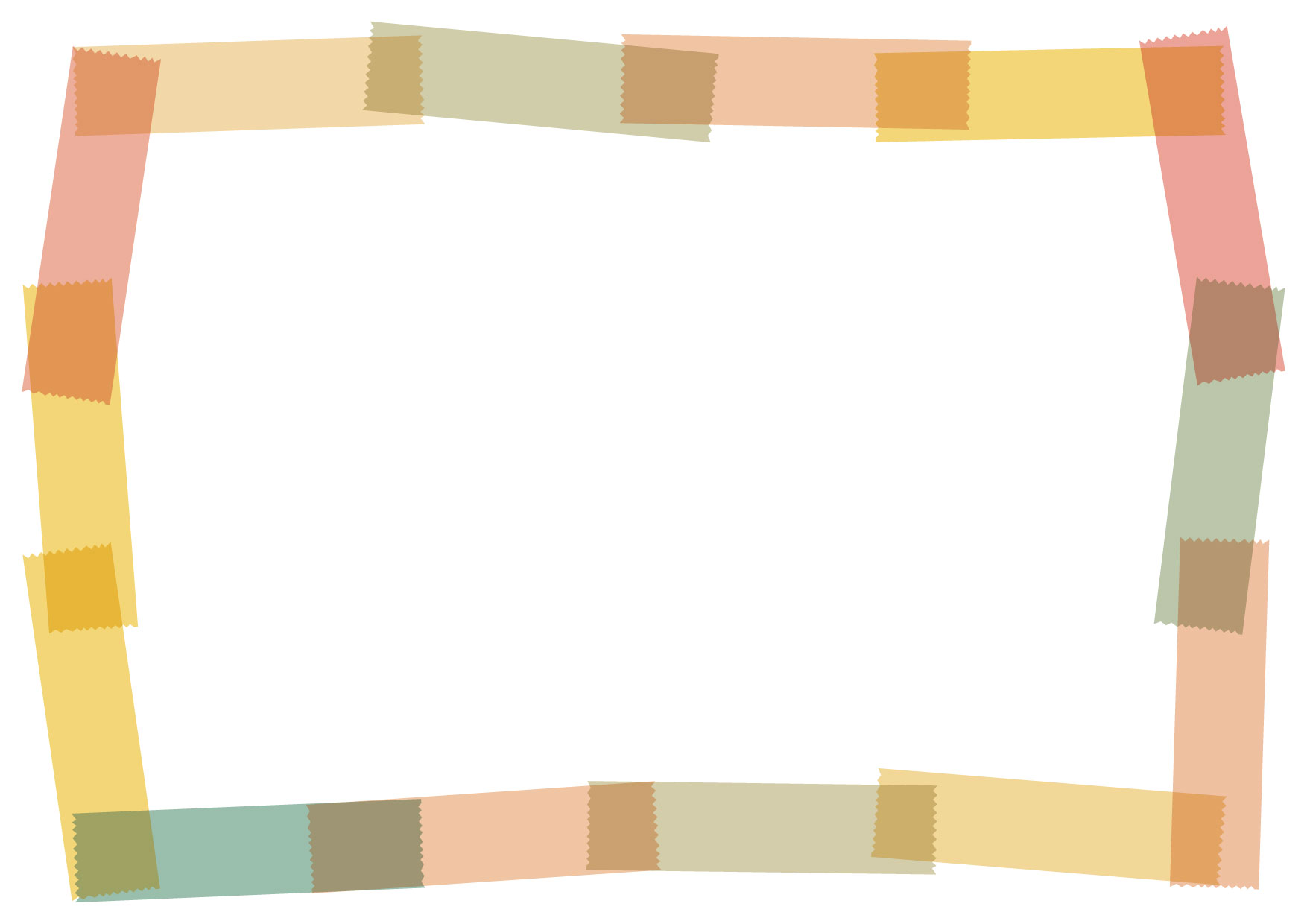 可愛いイラスト無料|マスキングテープ フレーム オレンジ − free illustration Masking tape frame orange