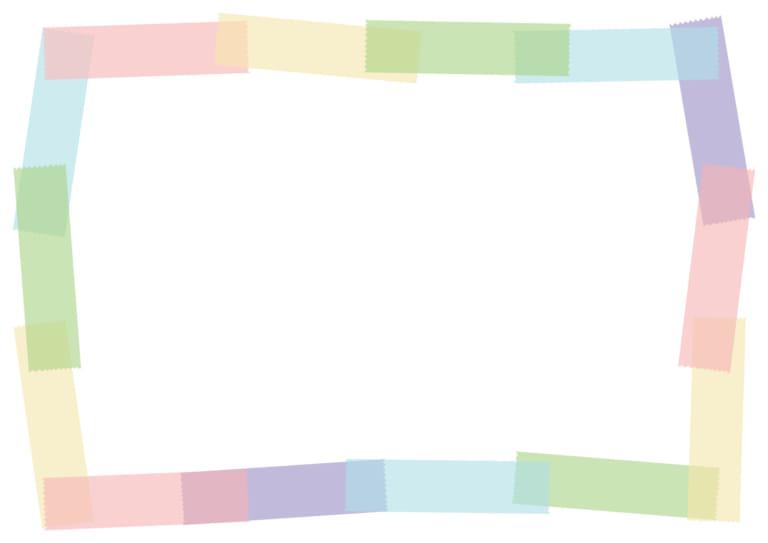 マスキングテープ フレーム カラフル パステル イラスト 無料