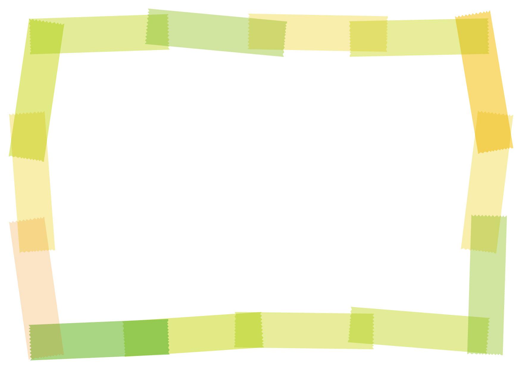 可愛いイラスト無料|マスキングテープ フレーム 黄 − free illustration Masking tape frame yellow