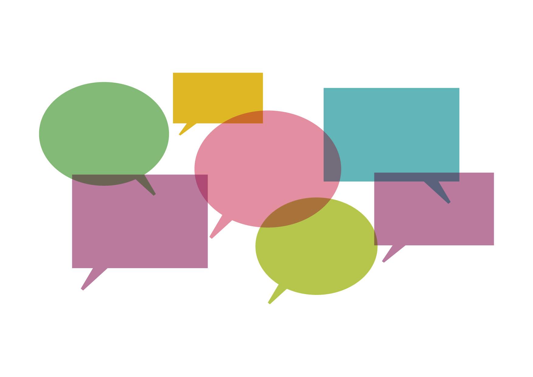 可愛いイラスト無料|吹き出し カラフル 会話 − free illustration Callout Colorful conversation