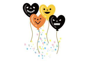 ハロウィン 風船 紙吹雪 ハート 黒 オレンジ イラスト 無料