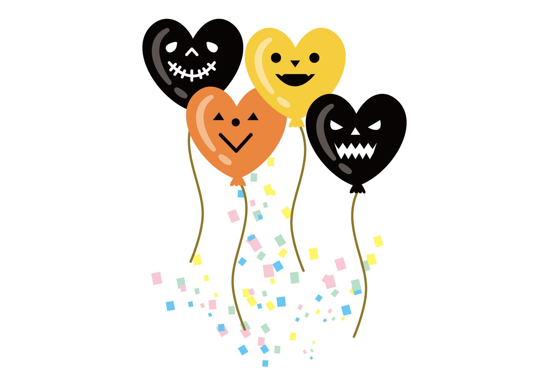 可愛いイラスト無料|ハロウィン 風船 ハート 黒 オレンジ − free illustration Halloween Balloon Heart Black Orange