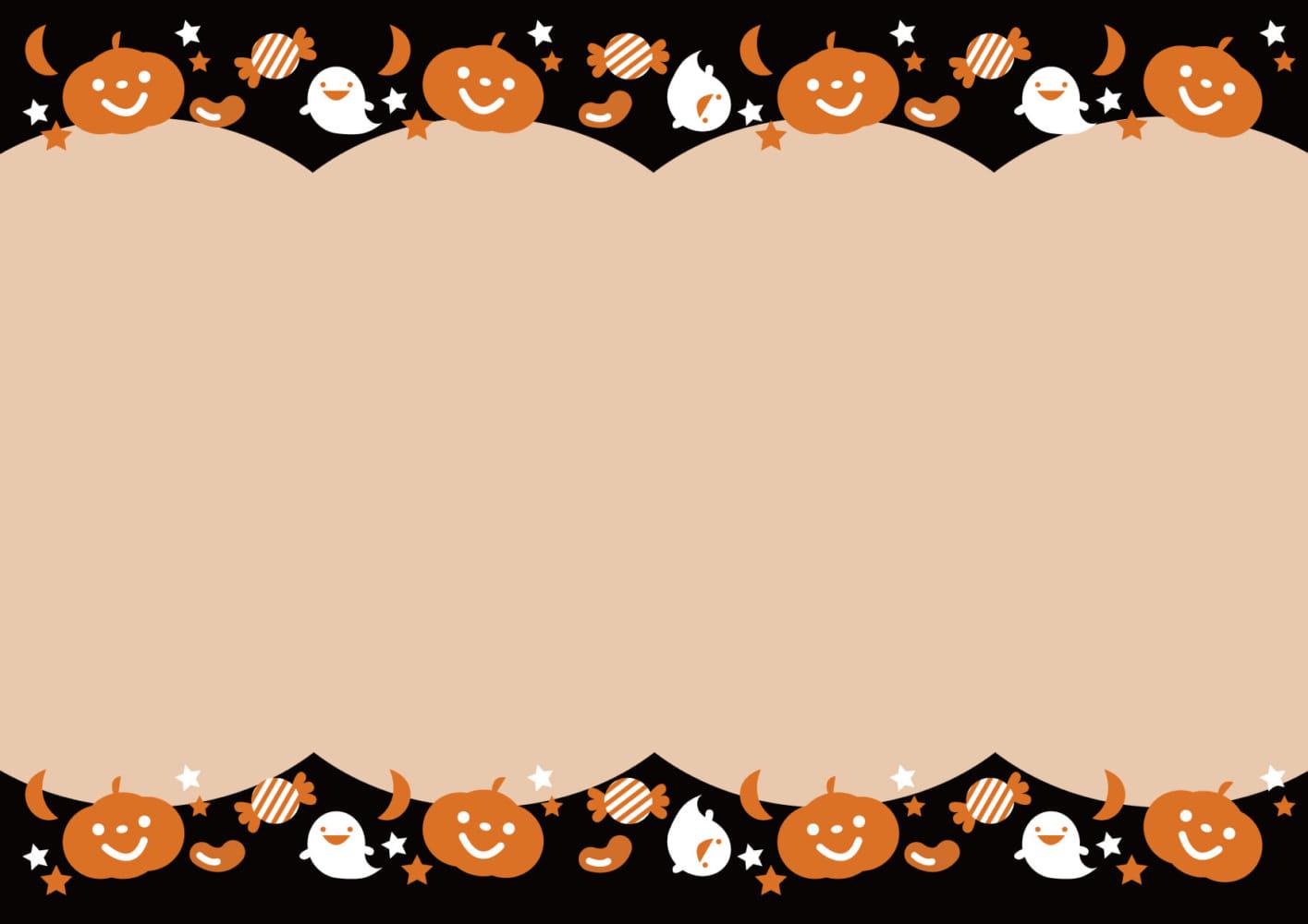 ハロウィン 背景 オレンジ ブラック イラスト 無料