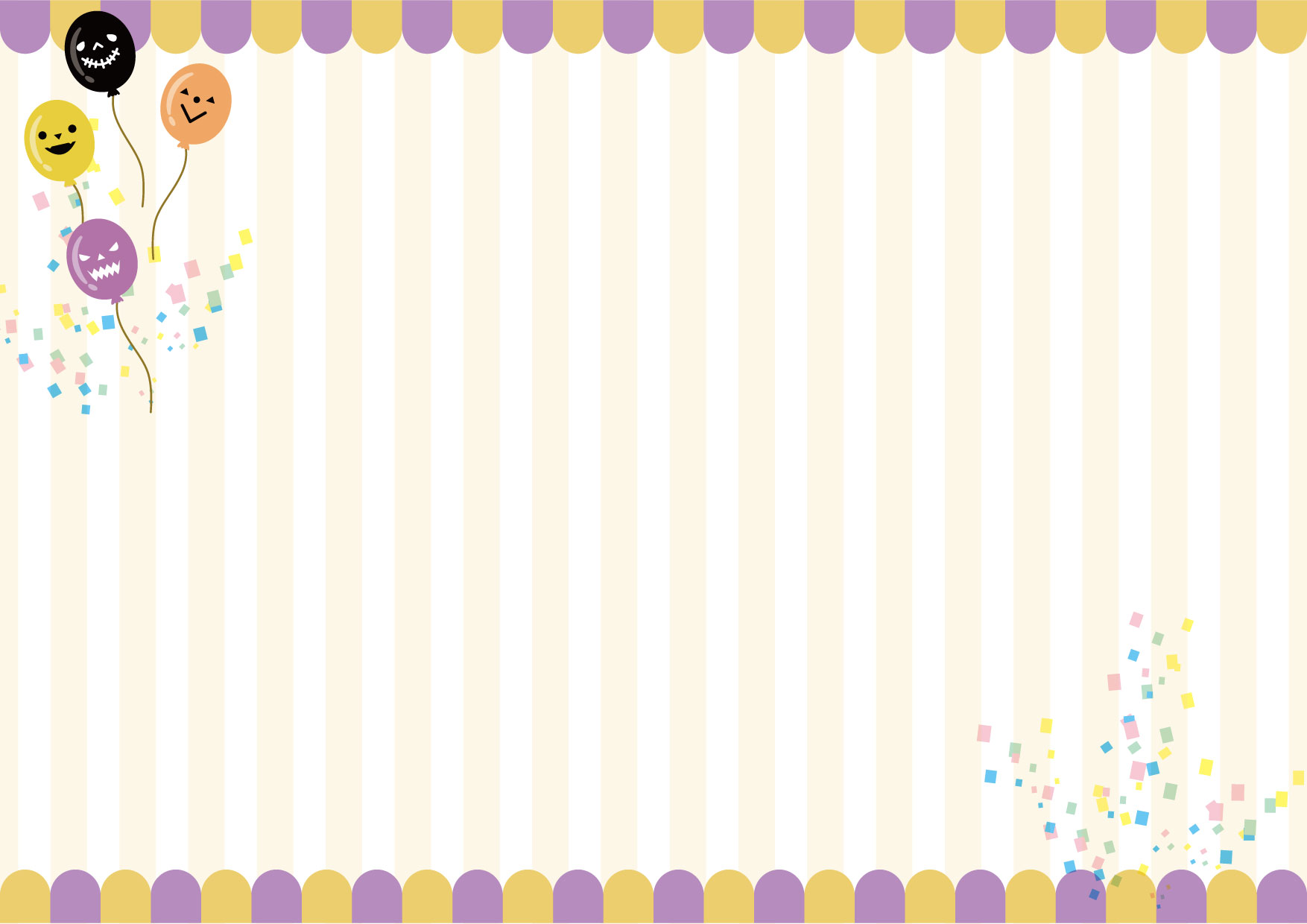 ハロウィン 背景 紫 黄 風船 ストライプ イラスト 無料