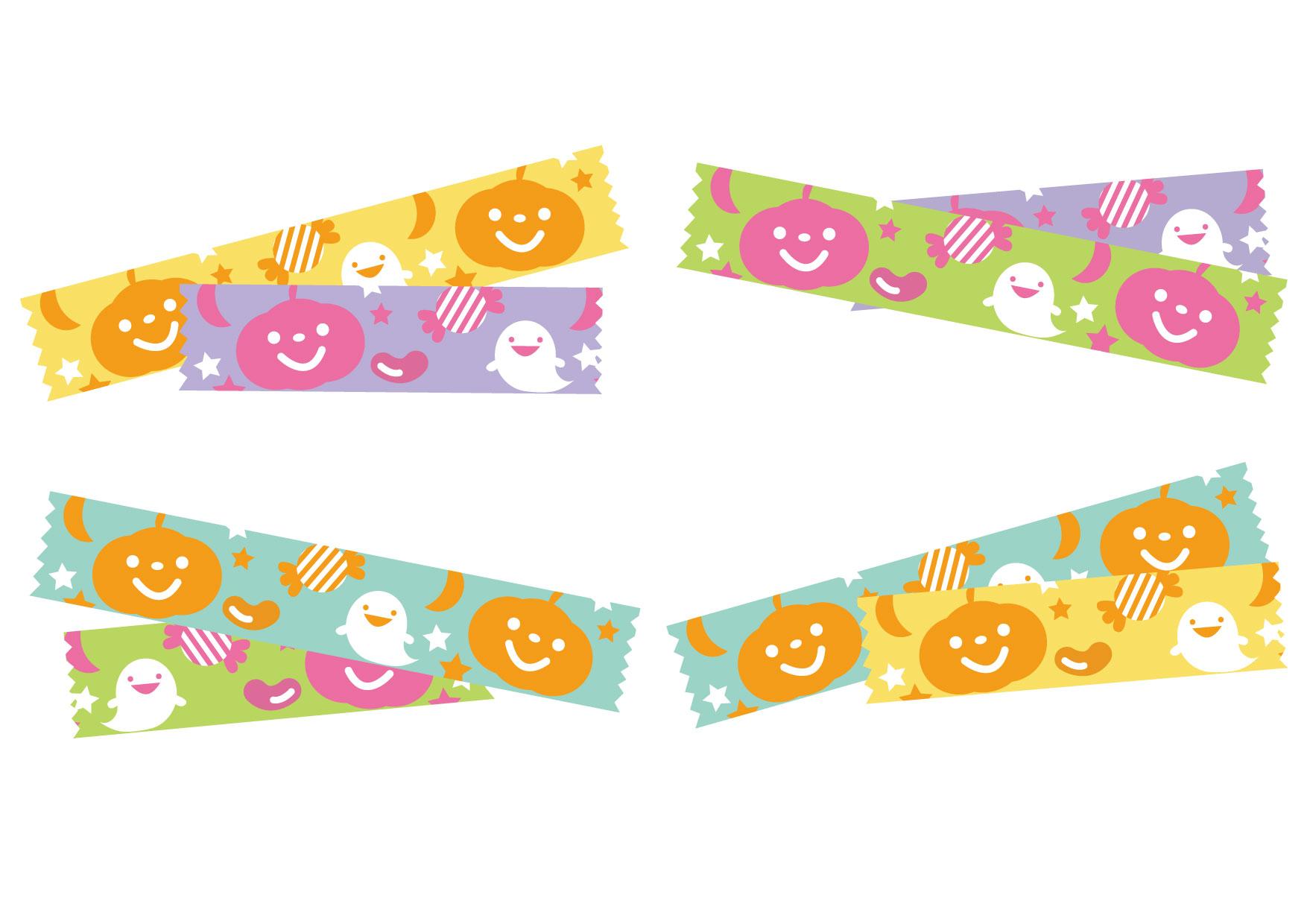 可愛いイラスト無料|ハロウィン マスキングテープ カラフル − free illustration Halloween masking tape colorful