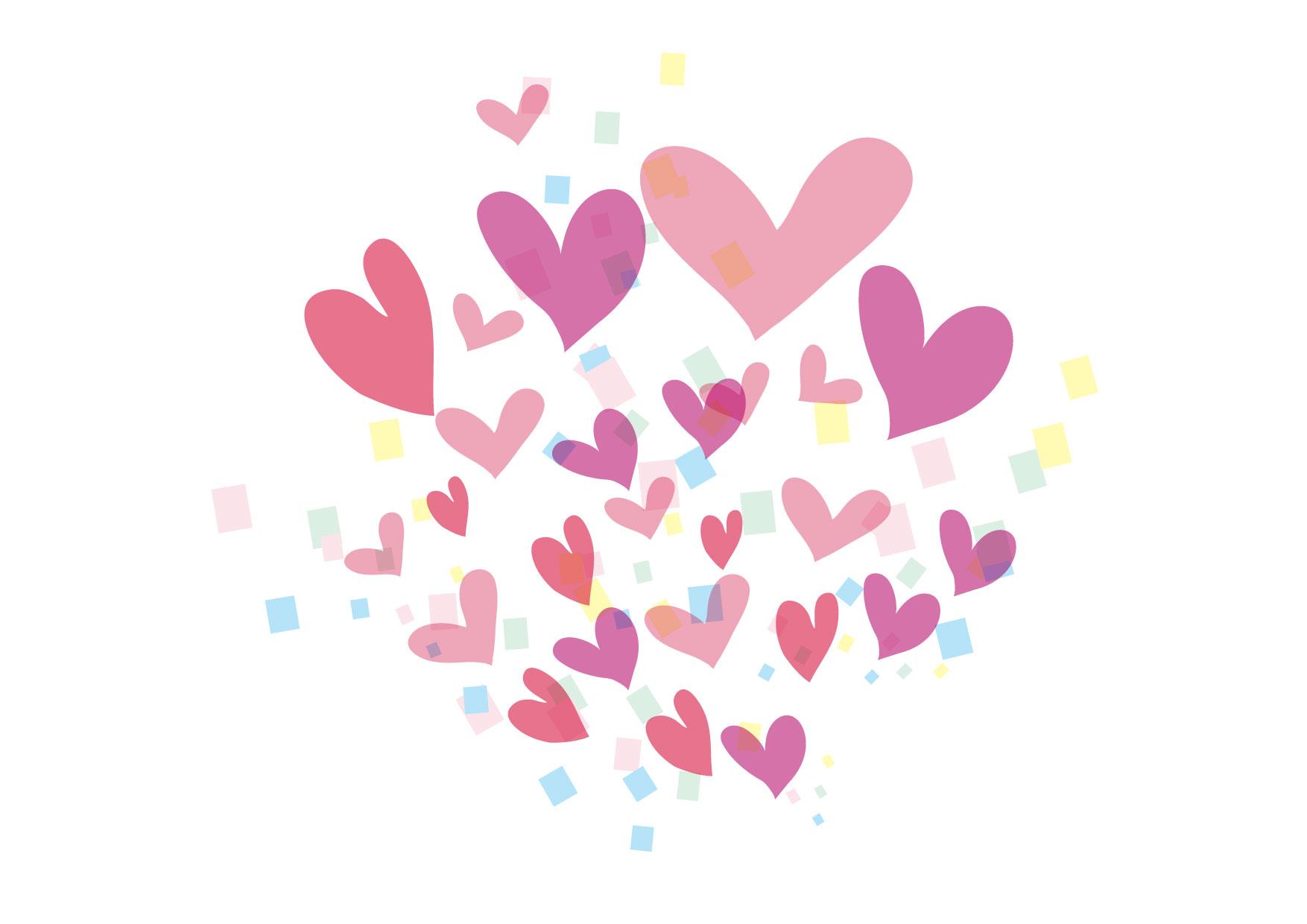 可愛いイラスト無料|ハート 紙吹雪 − free illustration Heart confetti