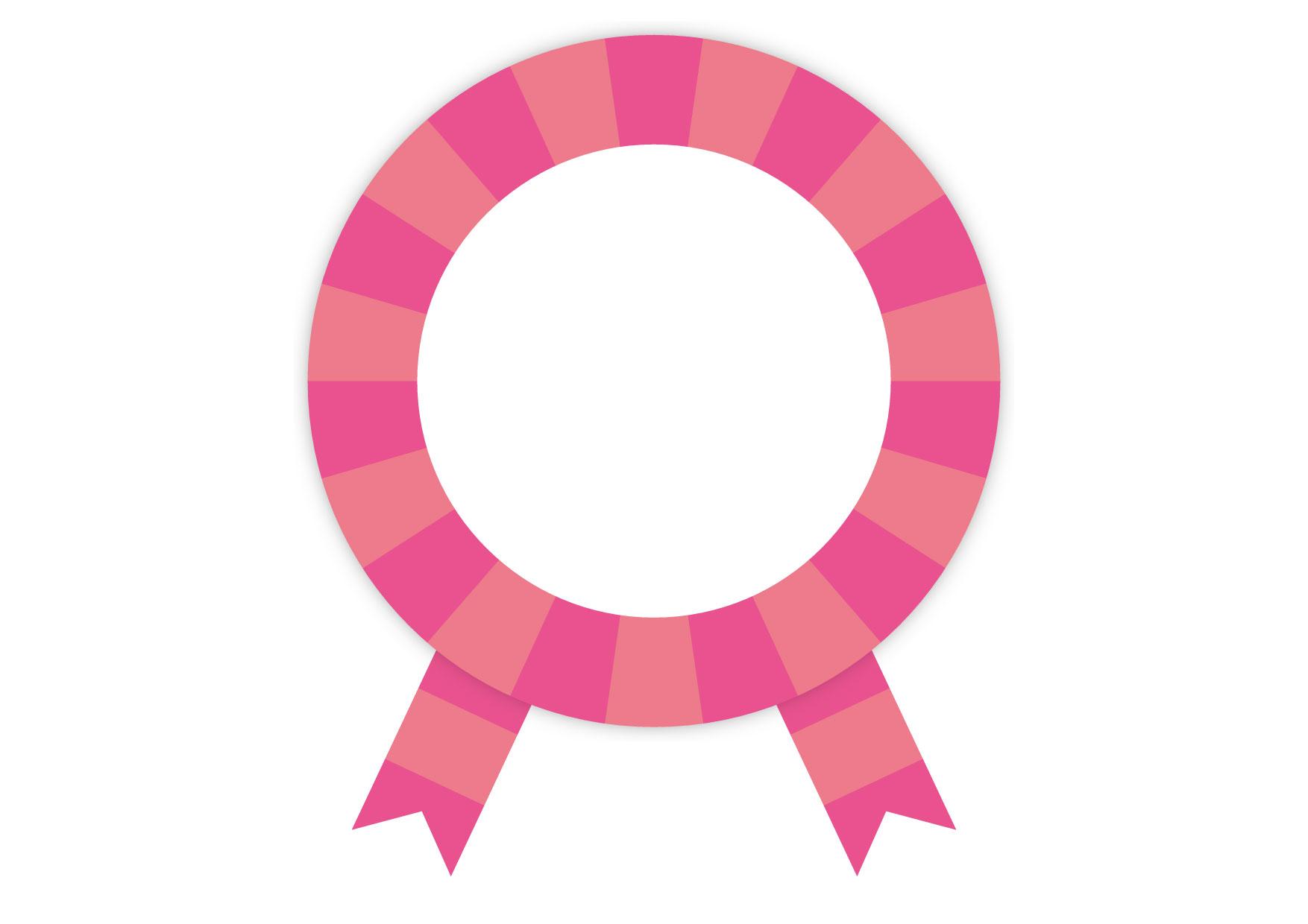可愛いイラスト無料|ピンク バッジ フレーム リボン − free illustration Pink badge frame ribbon