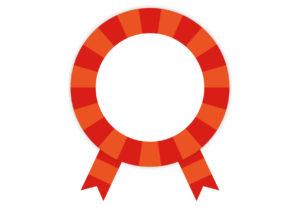 赤 リボン ストライプ フレーム イラスト 無料