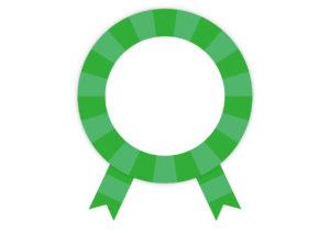 緑色 リボン ストライプ フレーム イラスト 無料