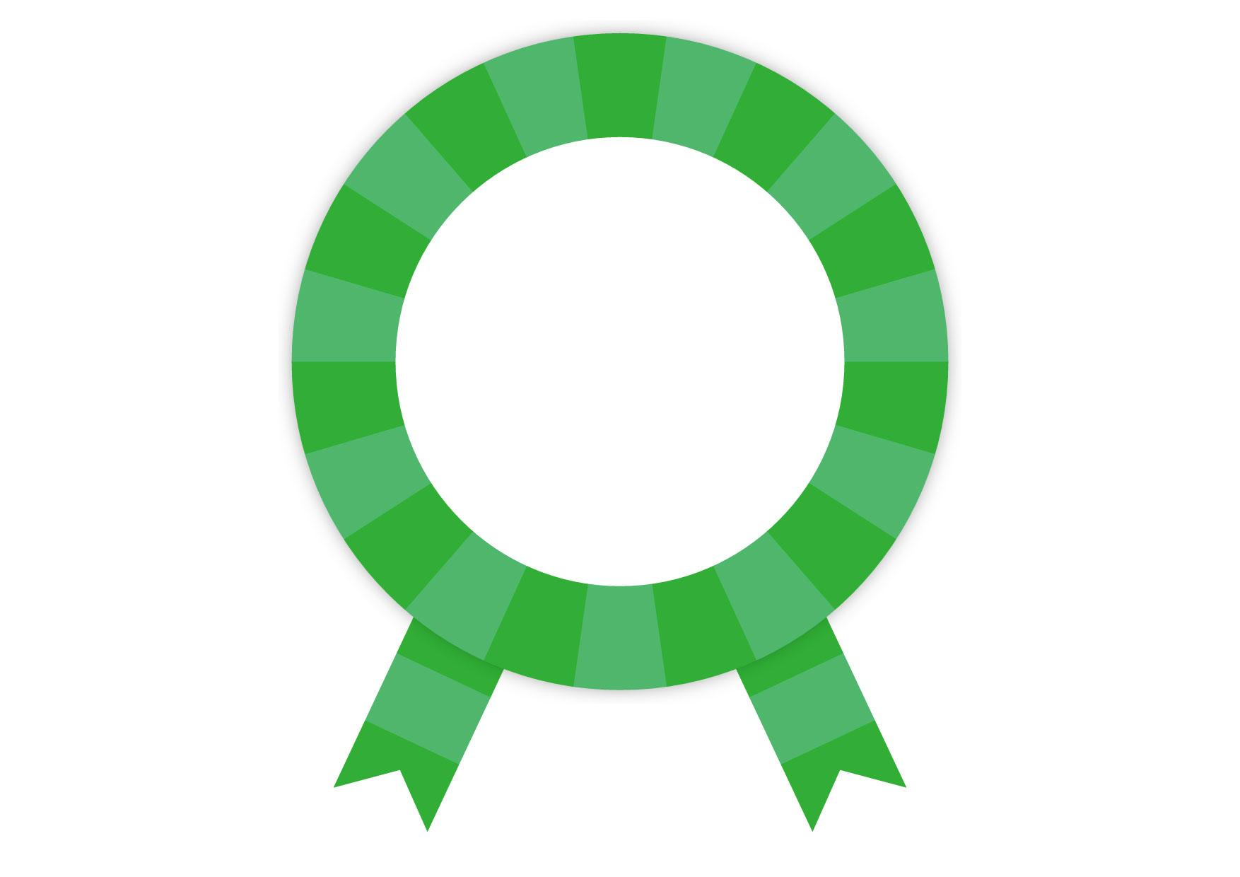 可愛いイラスト無料|緑色 バッジ フレーム リボン − free illustration Green badge frame ribbon