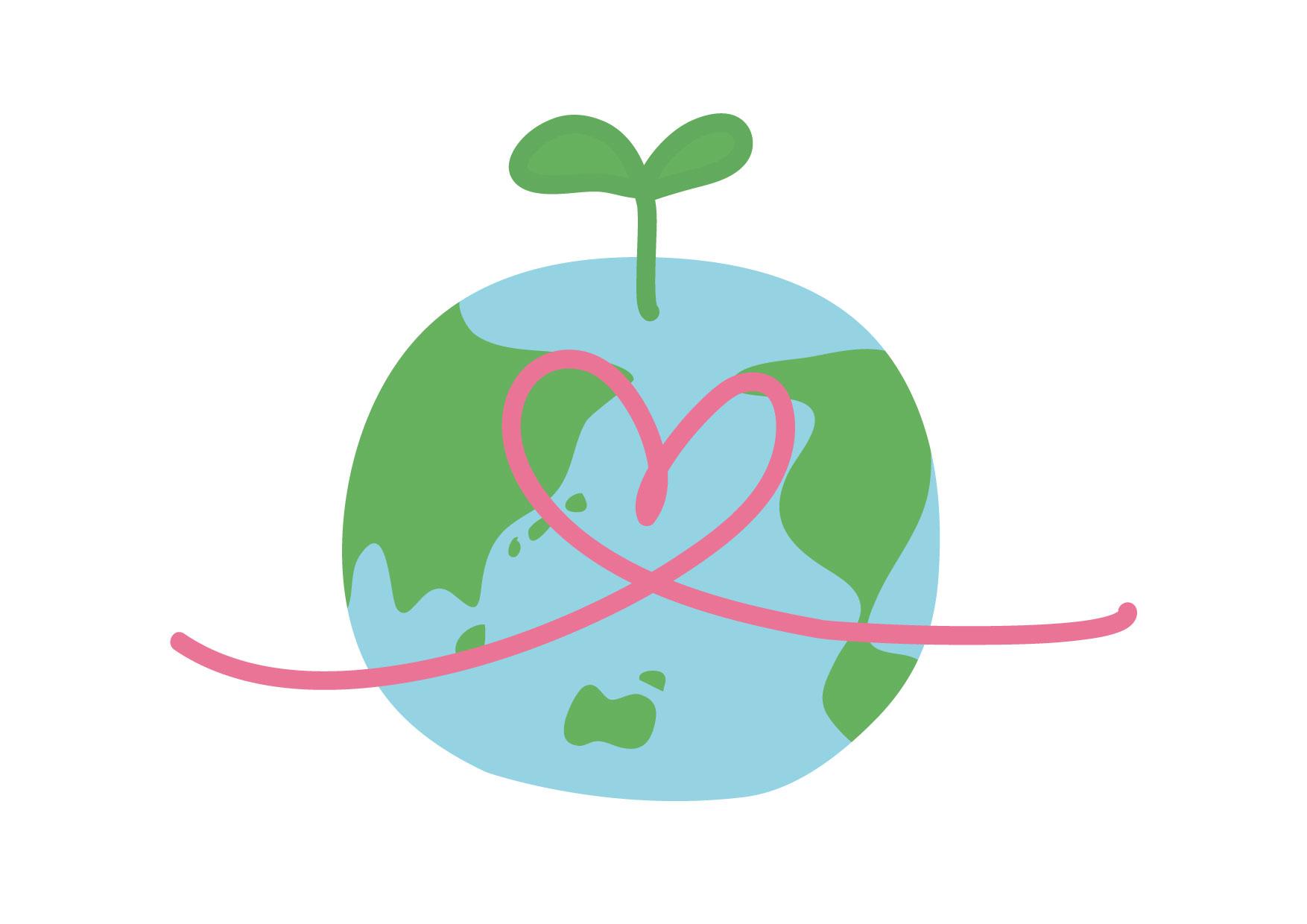 可愛いイラスト無料|地球 若葉 ハート 人権 環境 − free illustration Heart Earth Sprout Human Rights Environment