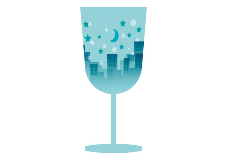 ワイングラス 街並み 青色 イラスト 無料