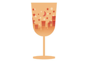 ワイングラス 街並み オレンジ イラスト 無料