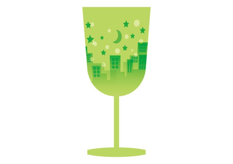 ワイングラス 街並み 緑 イラスト 無料