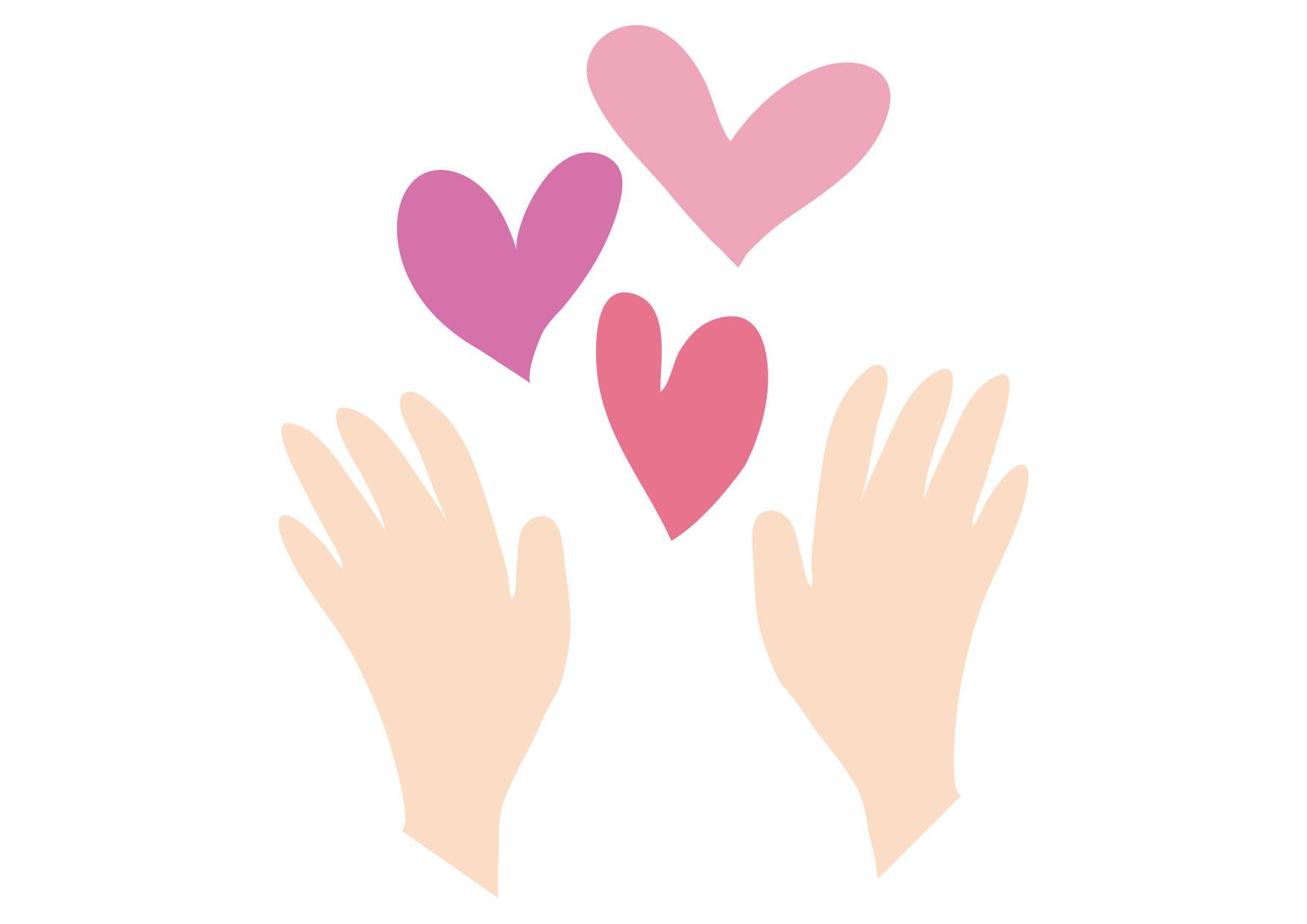 可愛いイラスト無料|ハート 両手 − free illustration Heart hands
