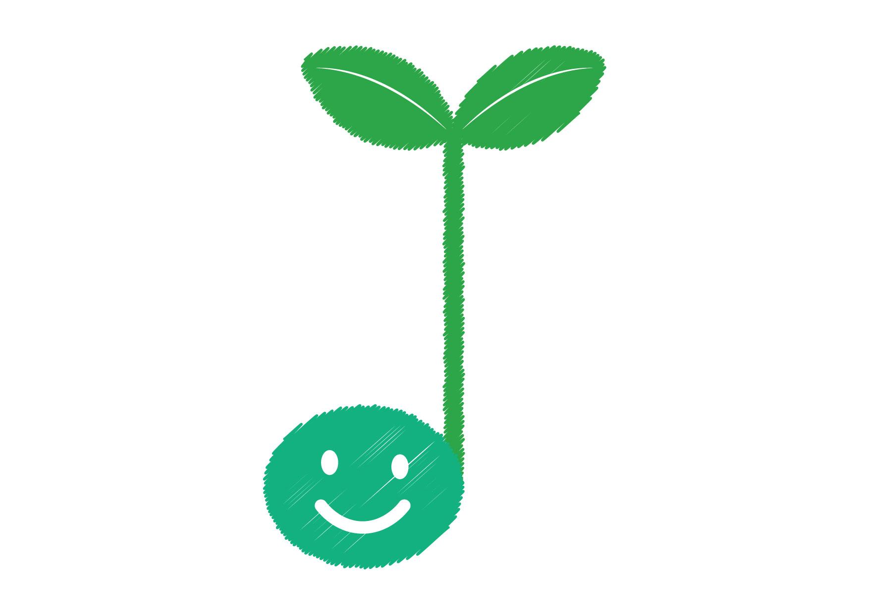 可愛いイラスト無料|音符 若葉 緑 − free illustration Musical note germination green