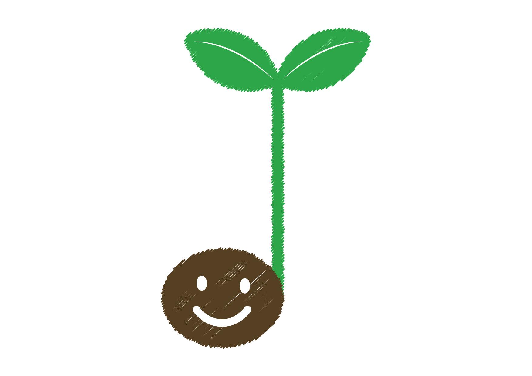 可愛いイラスト無料|音符 若葉 種 緑 − free illustration Musical note germination seed green
