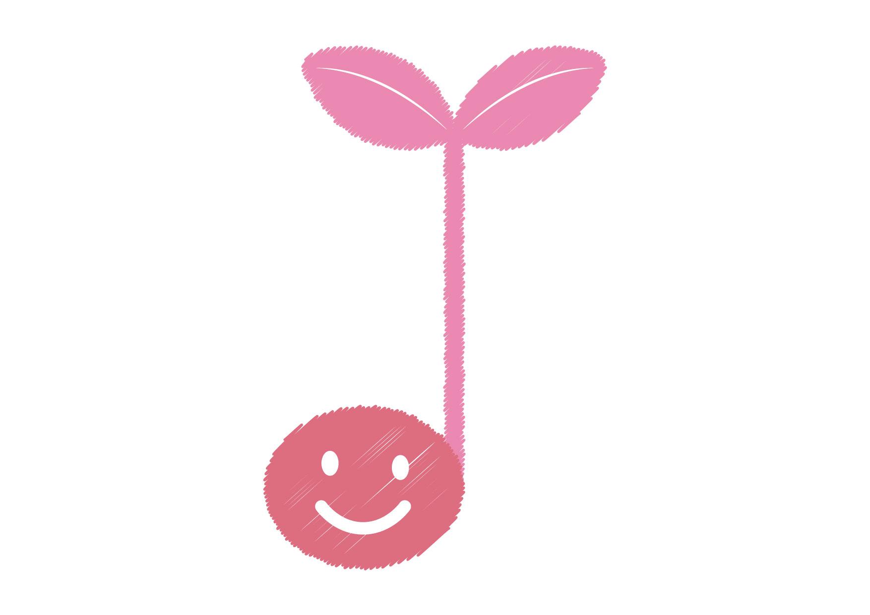 可愛いイラスト無料|音符 若葉 ピンク − free illustration Musical note germination pink