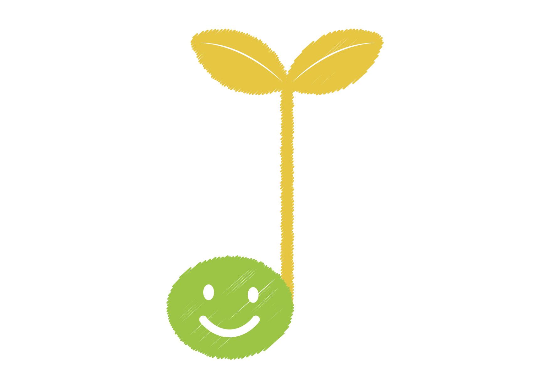 可愛いイラスト無料|音符 若葉 黄色 − free illustration Musical note germination yellow