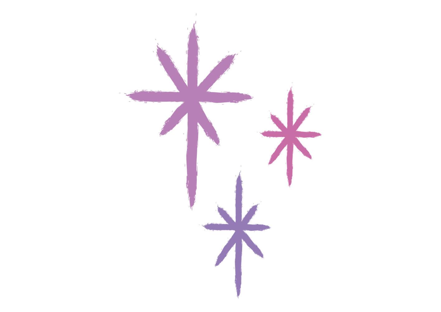 手書き キラキラ 光 紫色 イラスト 無料