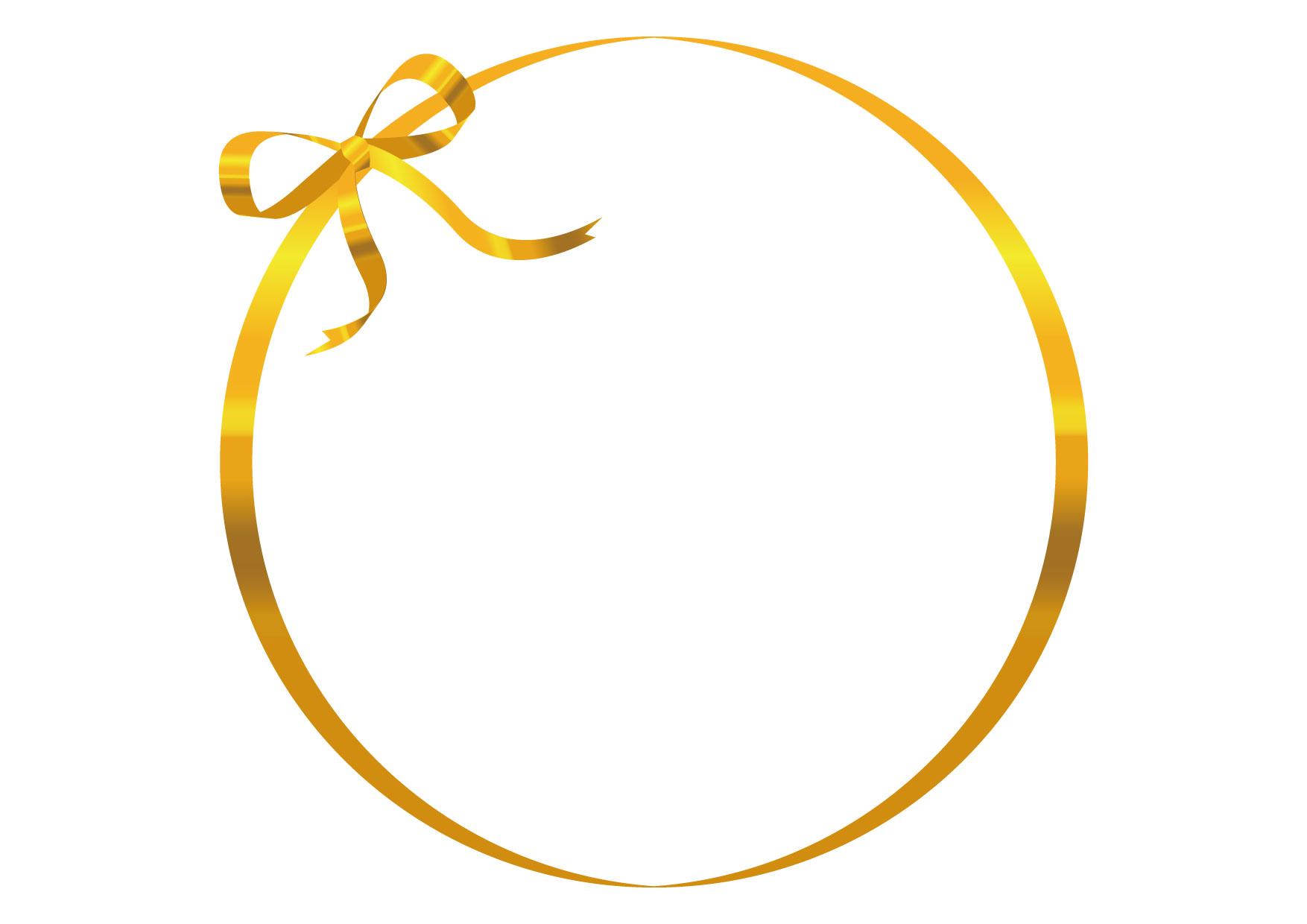 可愛いイラスト無料|リボン フレーム 金色 − free illustration Ribbon frame gold