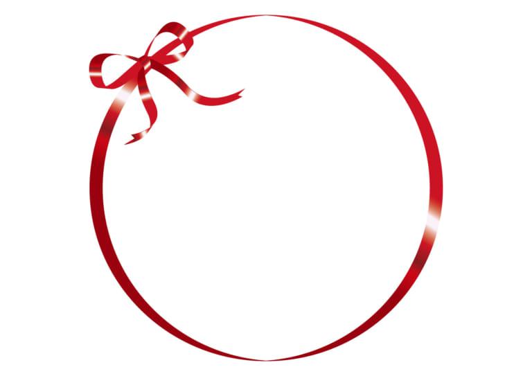 リボン フレーム 赤色 イラスト 無料