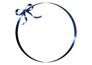 リボン フレーム 青色 イラスト 無料