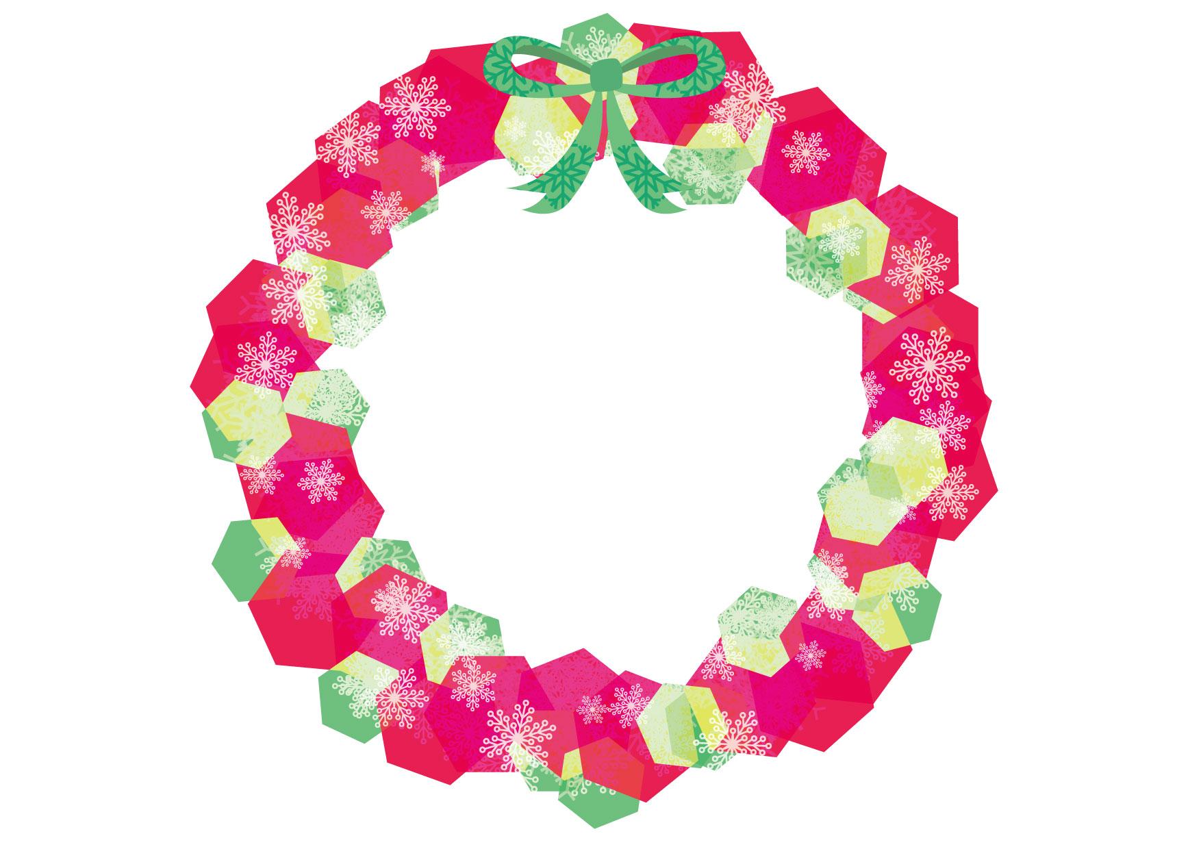 可愛いイラスト無料|クリスマスリース 赤 − free illustration Christmas wreath red