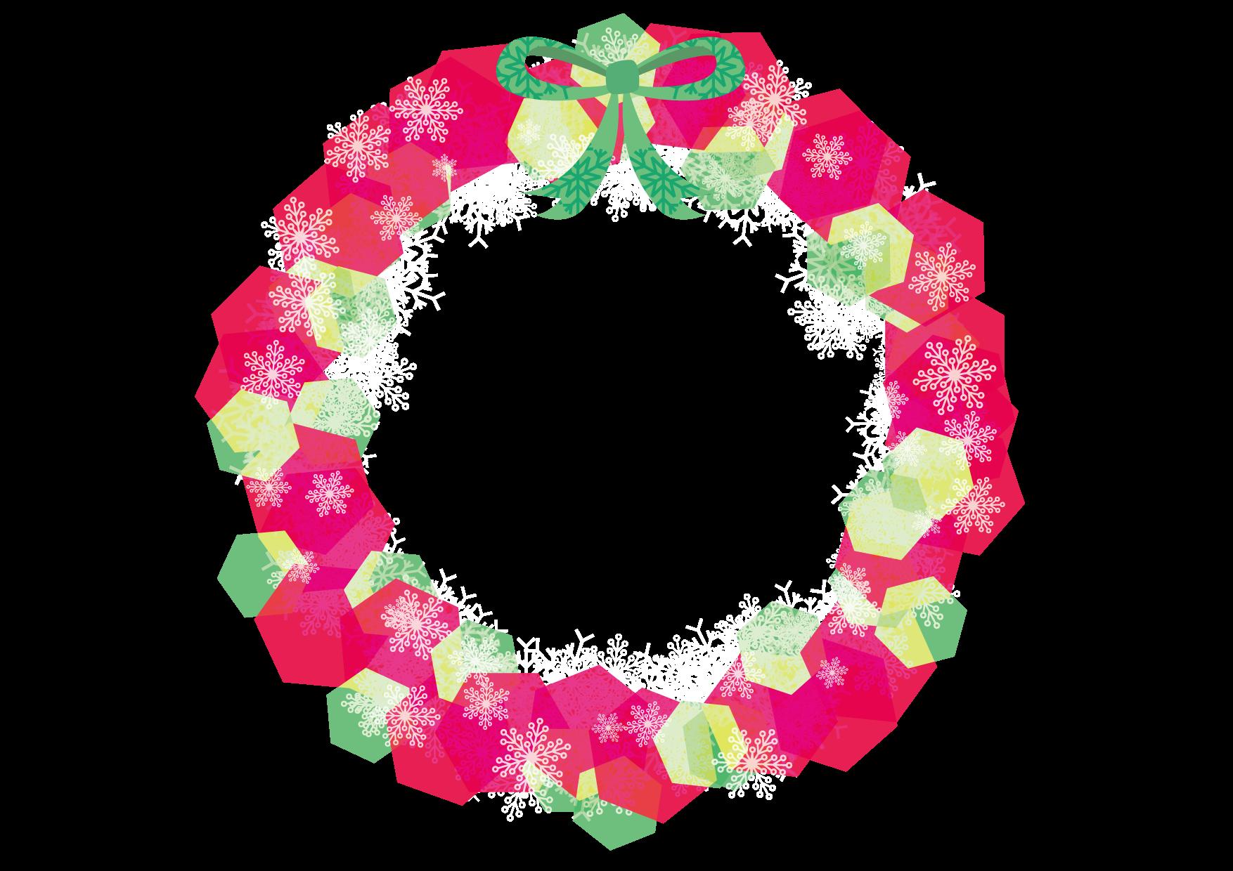 クリスマスリース 赤色 イラスト 無料