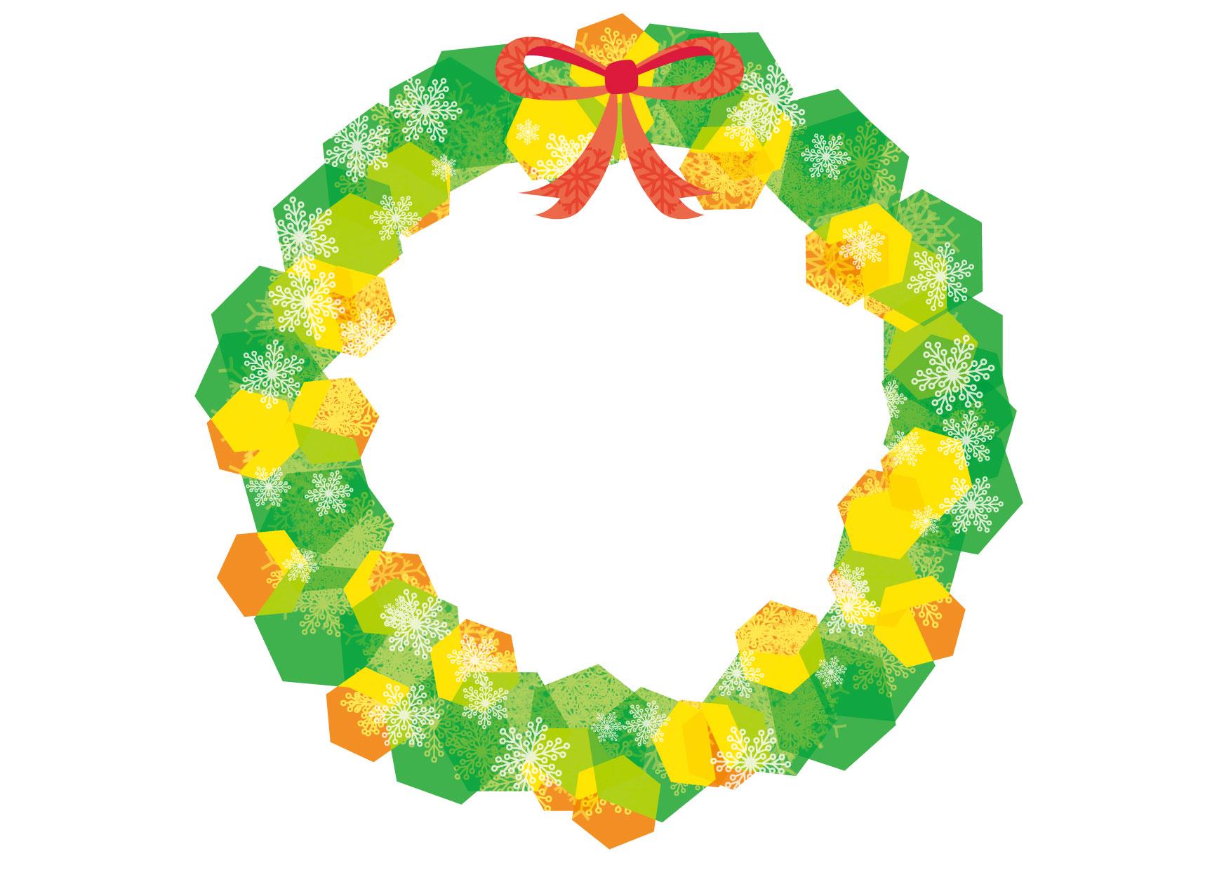 可愛いイラスト|クリスマスリース 緑色 − free illustration Christmas wreath green