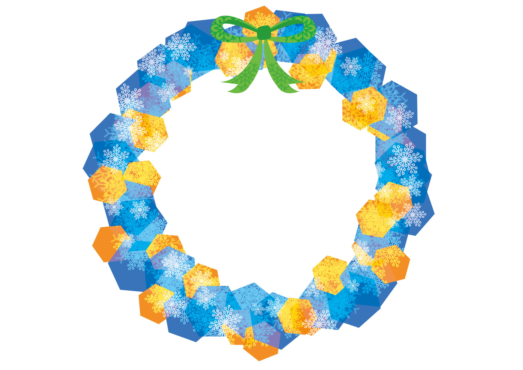 可愛いイラスト無料|クリスマスリース 青色 − free illustration Christmas wreath blue