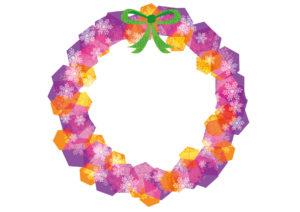 クリスマスリース 紫色 イラスト 無料