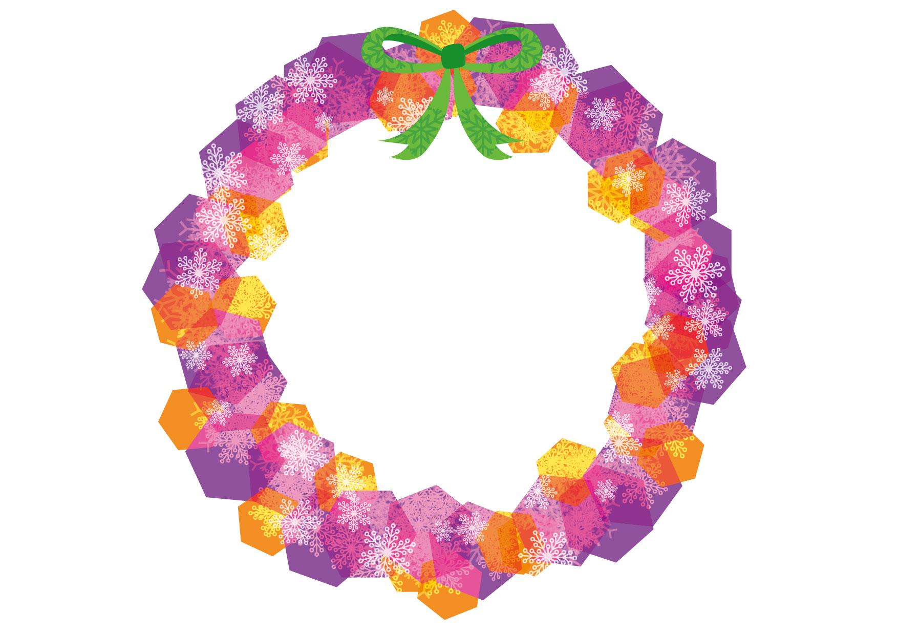 可愛いイラスト無料|クリスマスリース 紫色 − free illustration Christmas wreath purple