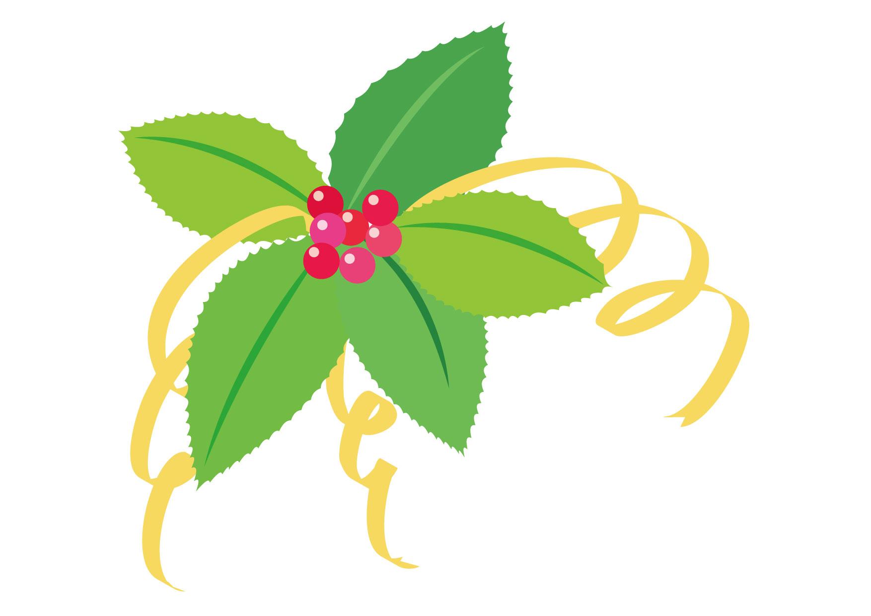 可愛いイラスト|ポインセチア 緑 リボン − free illustration Poinsettia green ribbon