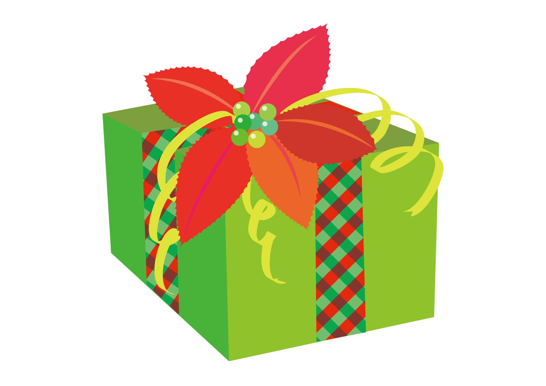可愛いイラスト無料|クリスマスプレゼント 緑色 ポインセチア − free illustration Christmas gift green poinsettia