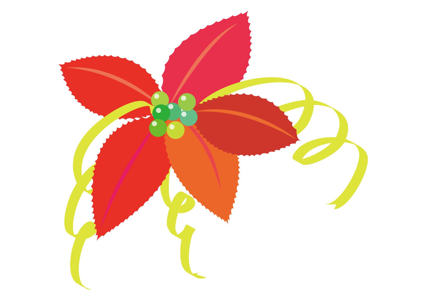 可愛いイラスト無料|ポインセチア 赤色 リボン − free illustration Poinsettia red ribbon