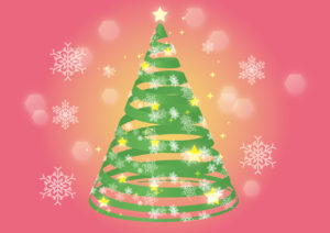 クリスマスツリー 緑色 リボン 雪の結晶 イラスト 無料