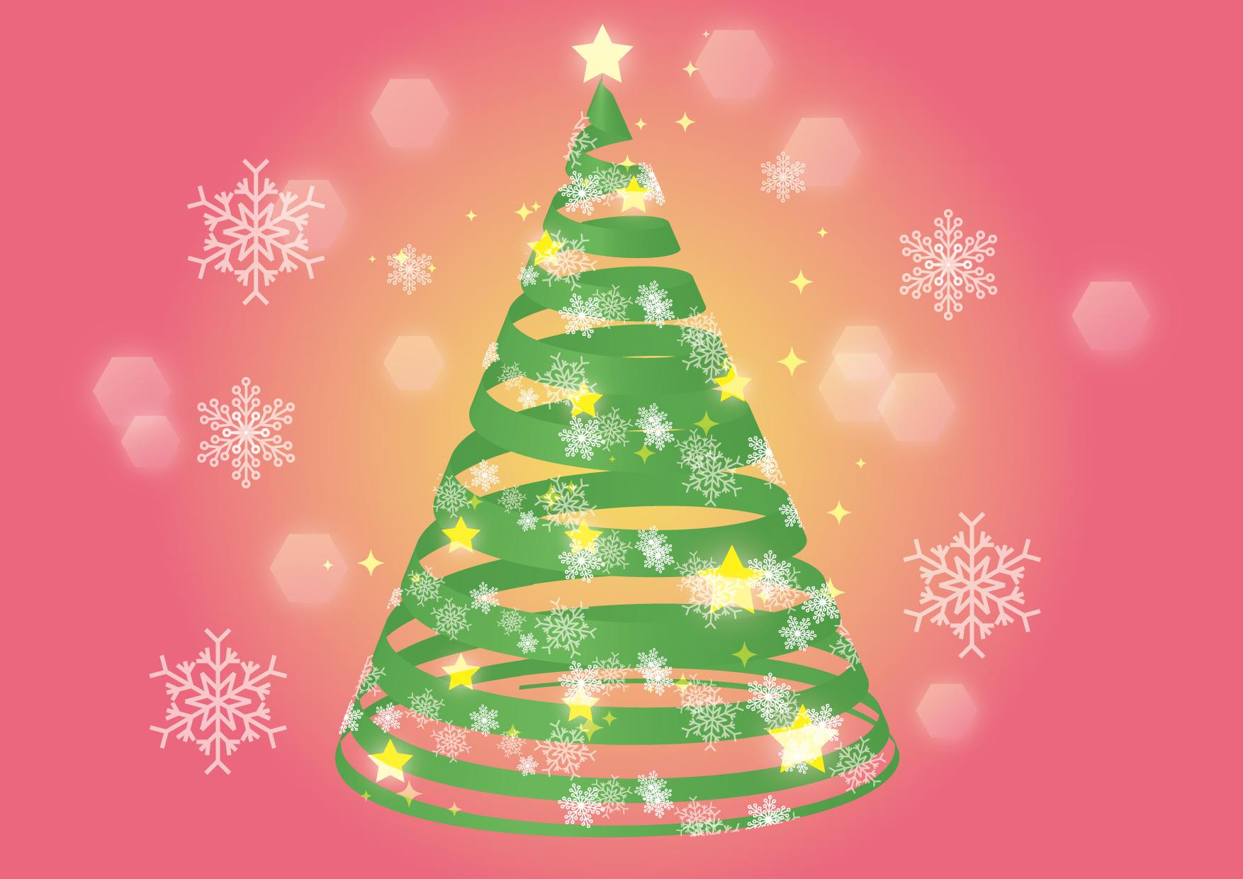 可愛いイラスト無料|クリスマスツリー リボン 雪の結晶 − free illustration Christmas tree ribbon snowflake