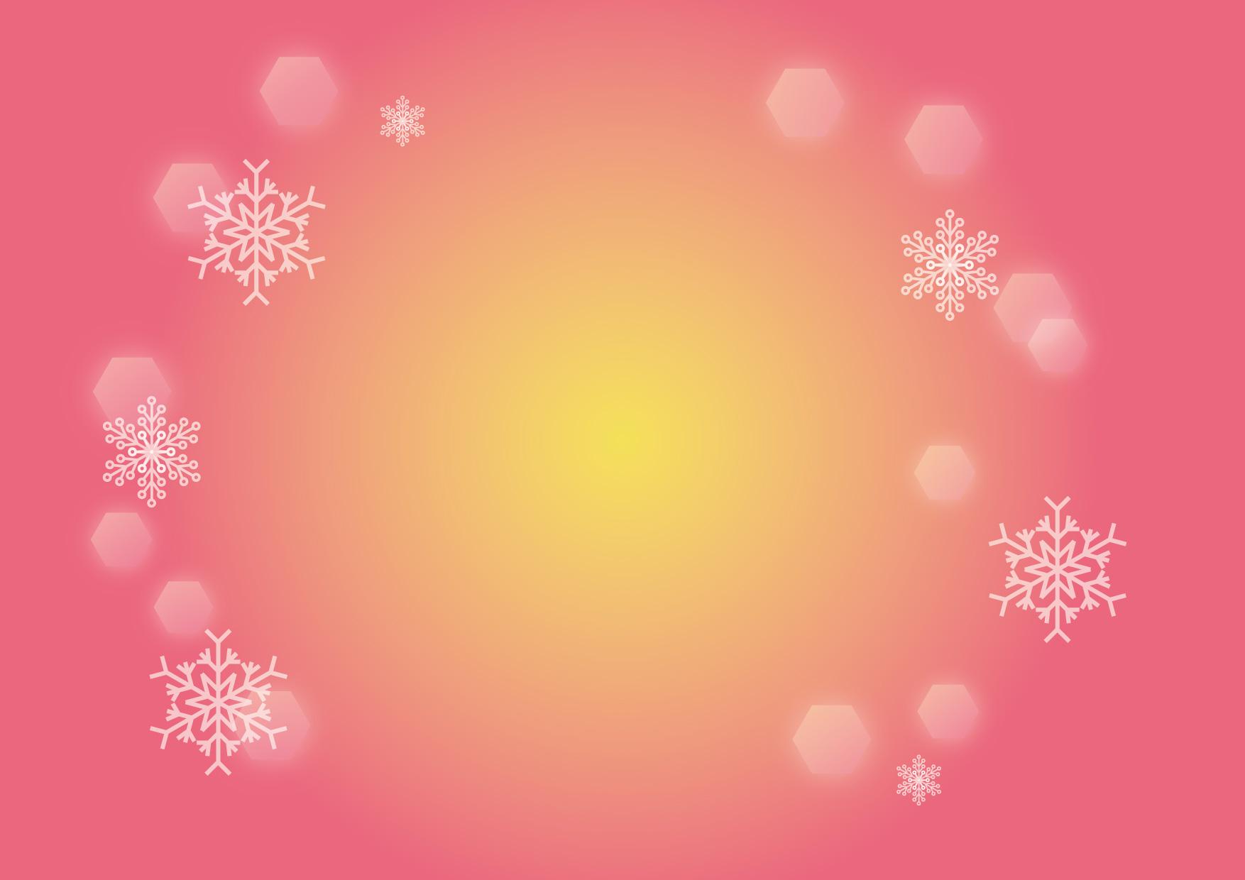 可愛いイラスト無料|雪の結晶 背景 ピンク − free illustration Snowflakes background pink