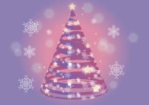 クリスマスツリー 紫色 リボン 雪の結晶 イラスト 無料