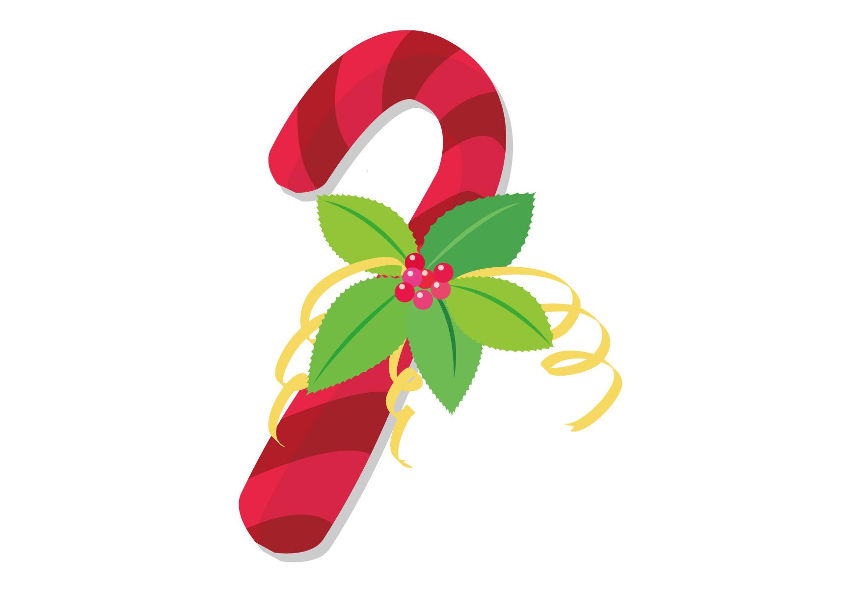 可愛いイラスト無料|クリスマス ステッキ 赤 − free illustration Christmas stick red