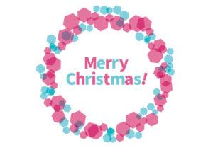 クリスマスリース ピンク 水色 イラスト 無料