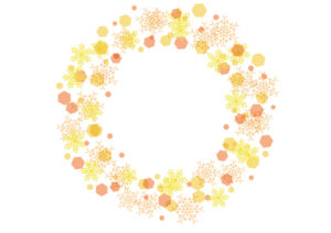 雪の結晶 背景 フレーム 黄色 イラスト 無料