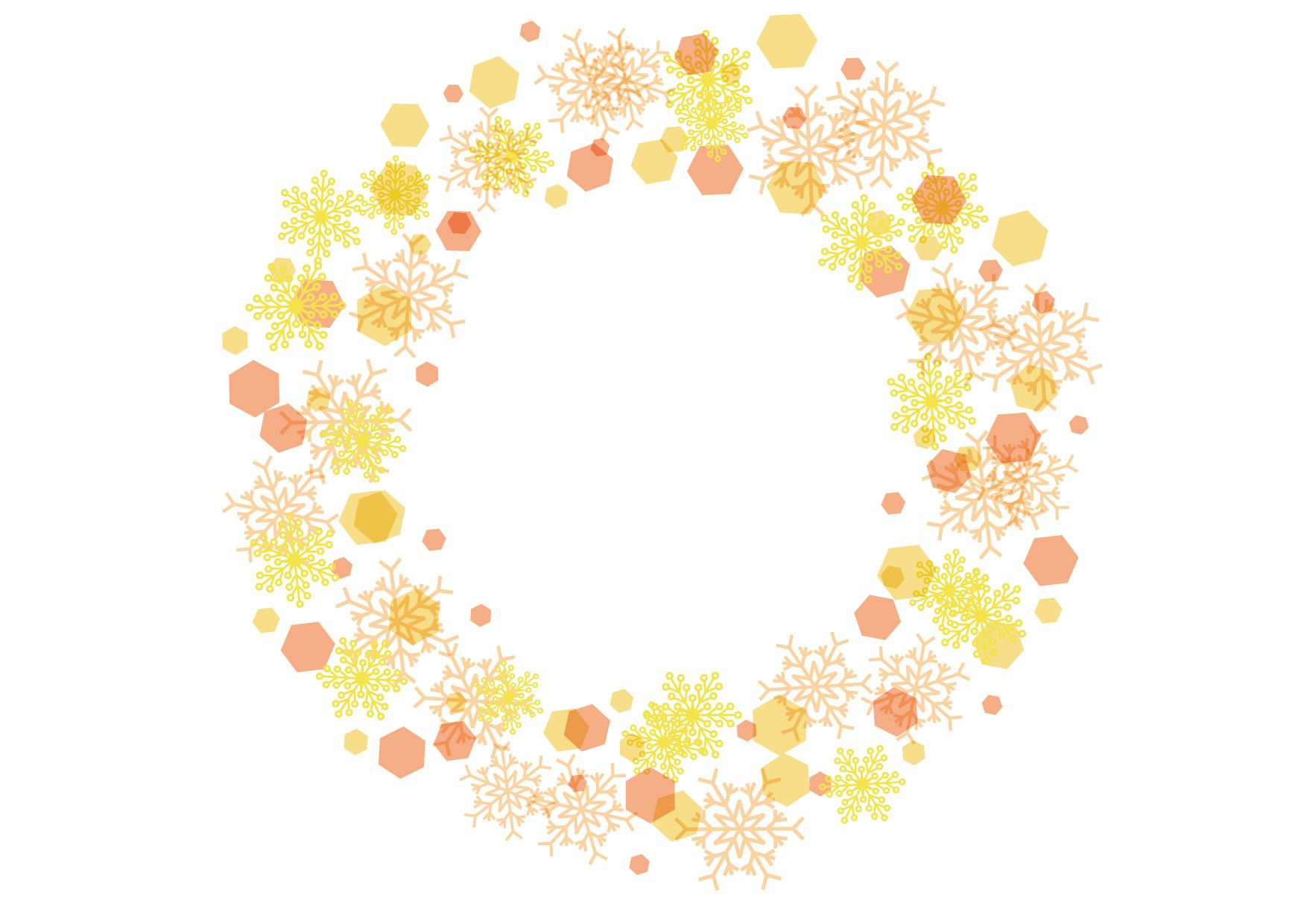 可愛いイラスト無料|雪の結晶 フレーム 背景 黄色 − free illustration Snowflakes frame background yellow