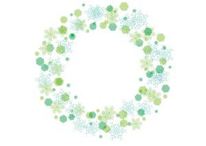 雪の結晶 背景 フレーム 緑色 イラスト 無料