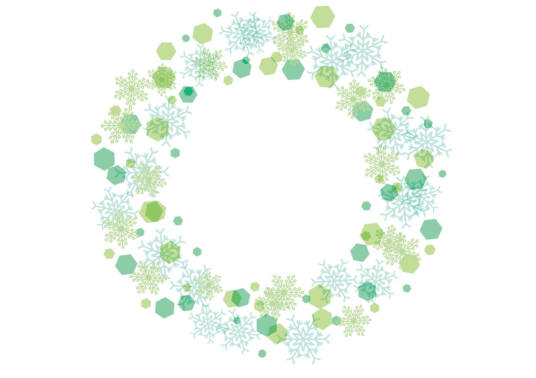 可愛いイラスト|雪の結晶 フレーム 背景 緑色 − free illustration Snowflakes frame background green